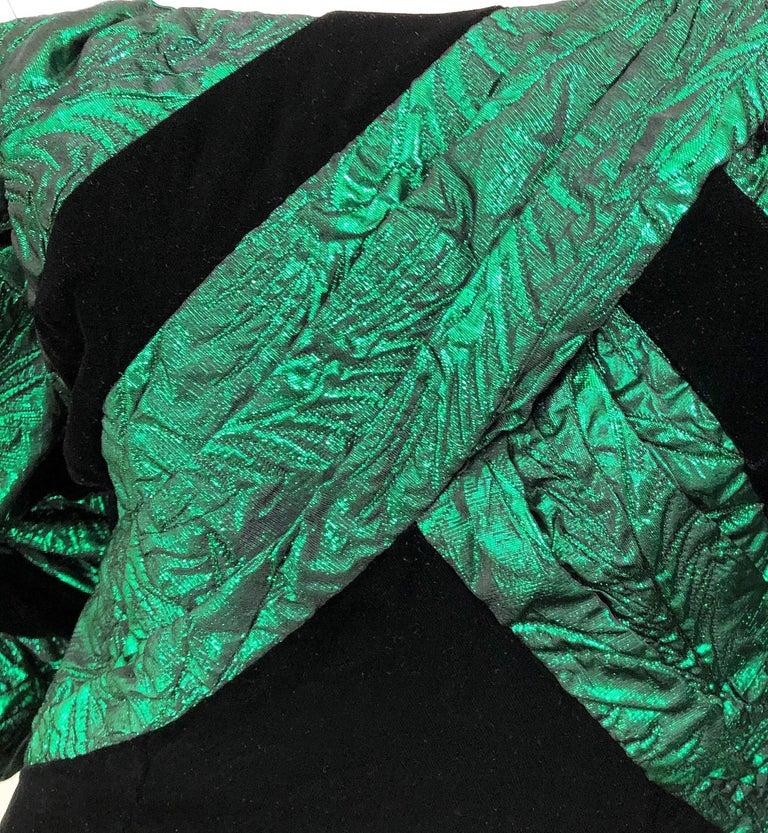 1980s Eugene Alexander Avant Garde Green + Black Vintage 80s Mini Dress For Sale 2