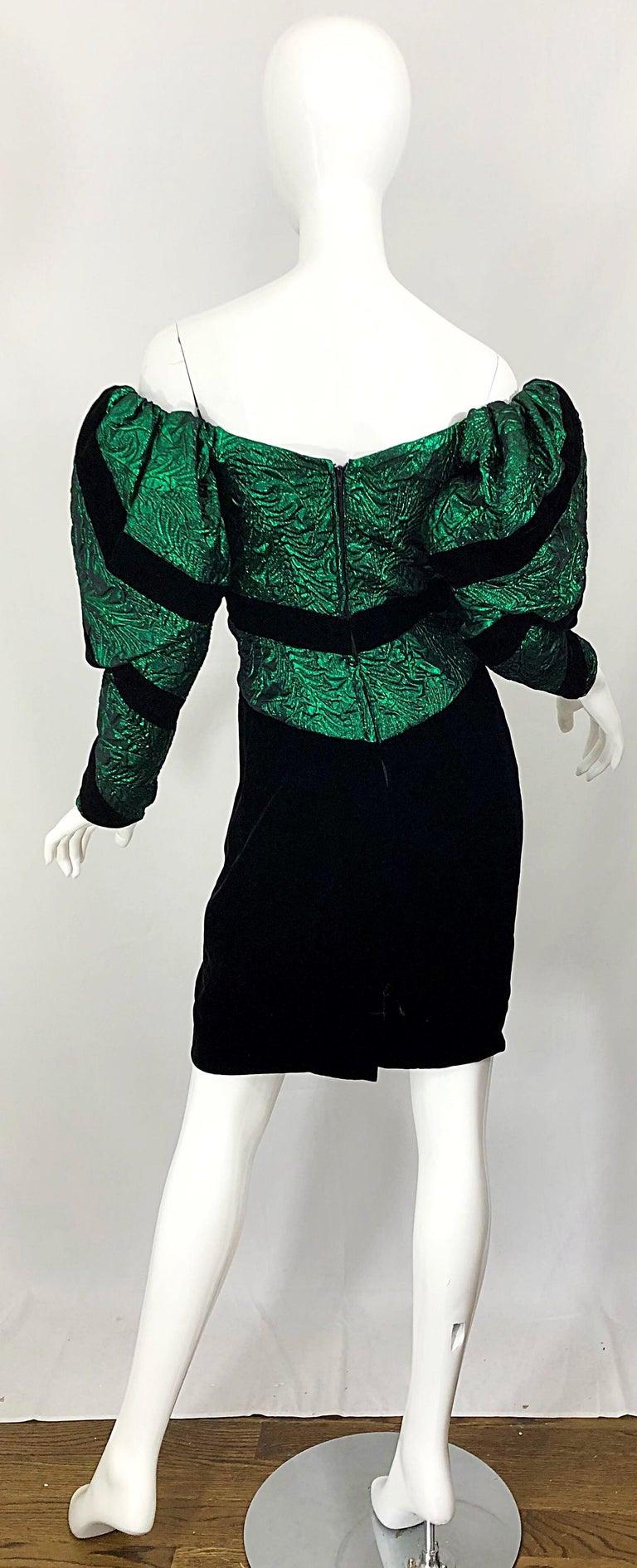 1980s Eugene Alexander Avant Garde Green + Black Vintage 80s Mini Dress For Sale 4