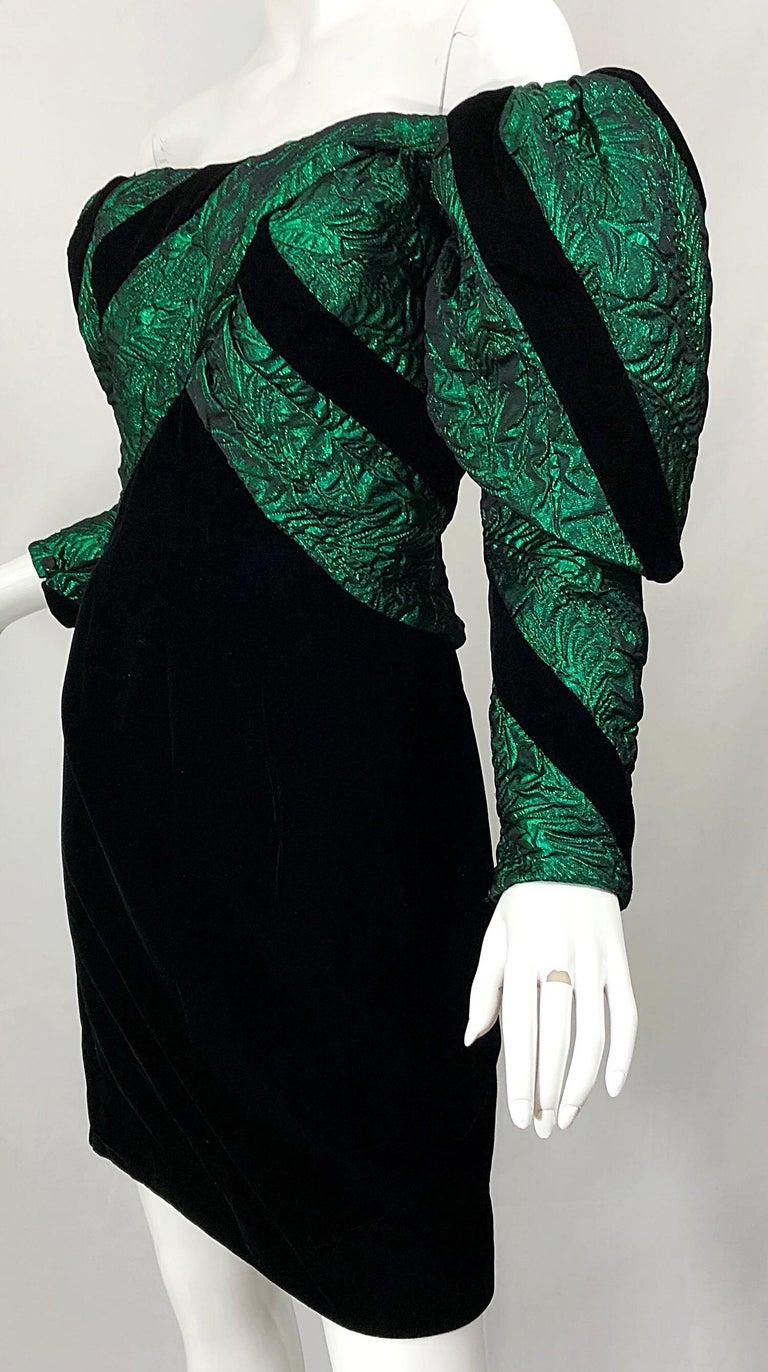 1980s Eugene Alexander Avant Garde Green + Black Vintage 80s Mini Dress For Sale 5
