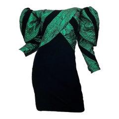 1980s Eugene Alexander Avant Garde Green + Black Vintage 80s Mini Dress