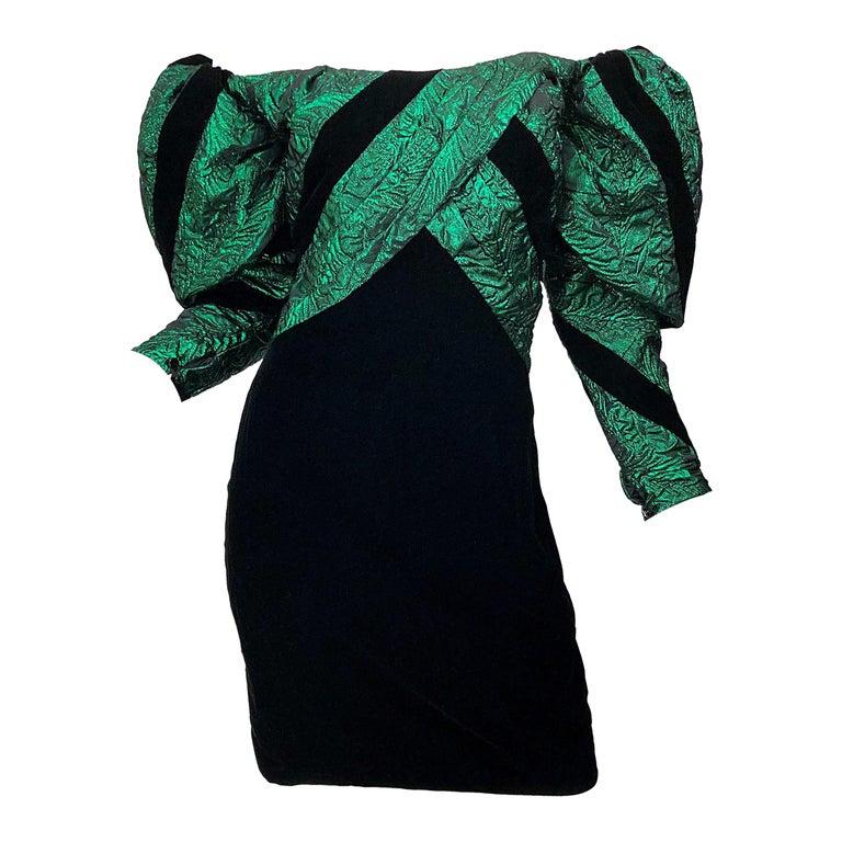 1980s Eugene Alexander Avant Garde Green + Black Vintage 80s Mini Dress For Sale