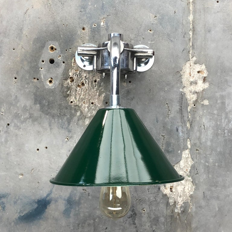 1980s Ex British Army Lamp Shade and Galvanized Steel Short Reach Cantilever For Sale 4