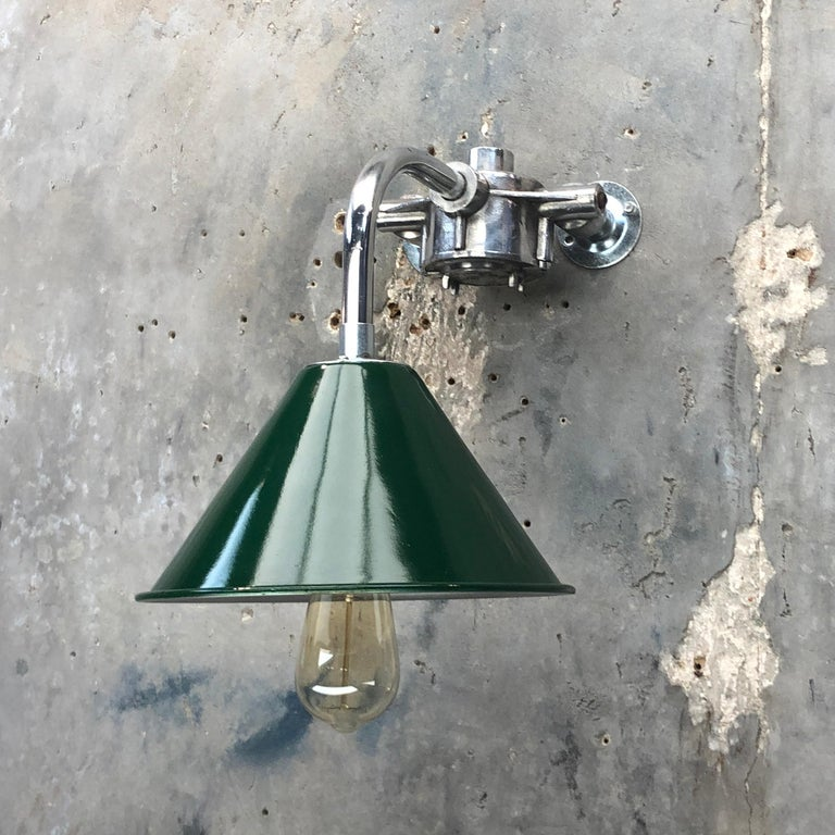 1980s Ex British Army Lamp Shade and Galvanized Steel Short Reach Cantilever For Sale 5