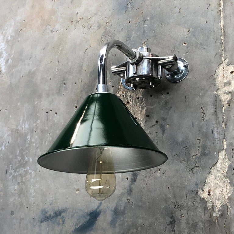 1980s Ex British Army Lamp Shade and Galvanized Steel Short Reach Cantilever For Sale 6