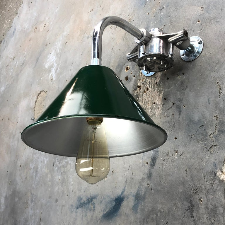 1980s Ex British Army Lamp Shade and Galvanized Steel Short Reach Cantilever For Sale 7