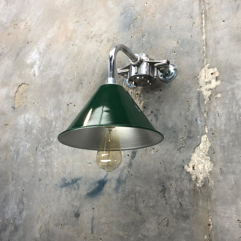 English 1980s Ex British Army Lamp Shade and Galvanized Steel Short Reach Cantilever For Sale
