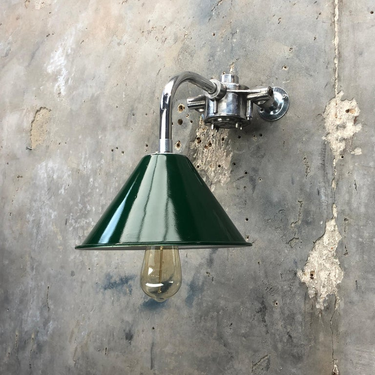 Cast 1980s Ex British Army Lamp Shade and Galvanized Steel Short Reach Cantilever For Sale