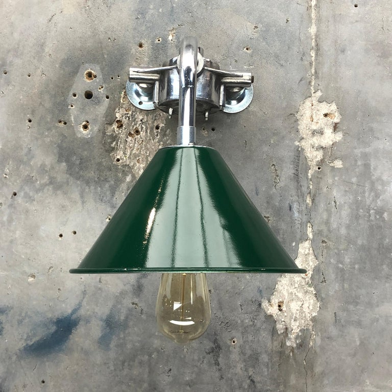 Late 20th Century 1980s Ex British Army Lamp Shade and Galvanized Steel Short Reach Cantilever For Sale