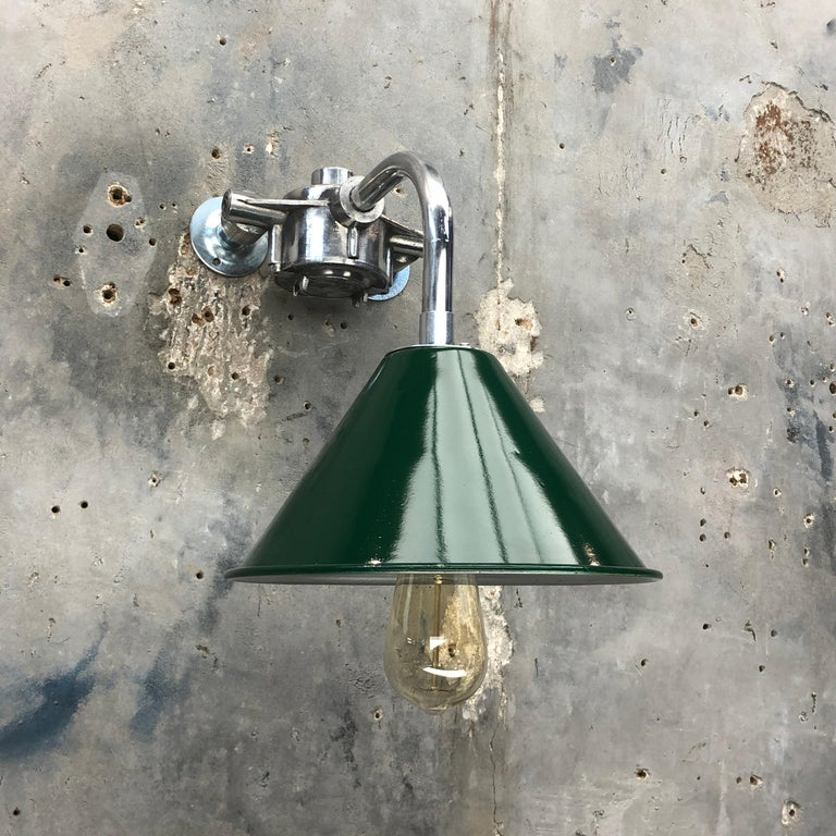 Aluminum 1980s Ex British Army Lamp Shade and Galvanized Steel Short Reach Cantilever For Sale
