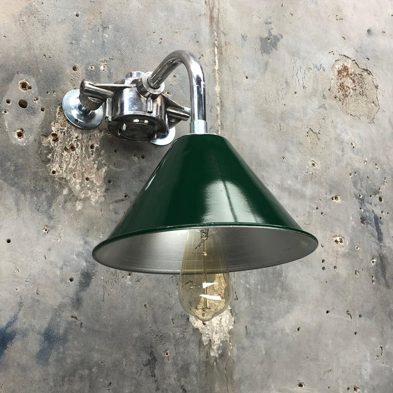 1980s Ex British Army Lamp Shade and Galvanized Steel Short Reach Cantilever For Sale 1