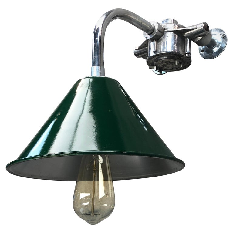 1980s Ex British Army Lamp Shade and Galvanized Steel Short Reach Cantilever For Sale