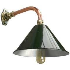 1980s Ex British Army Light Shade / Copper and Brass Cantilever, Original Green