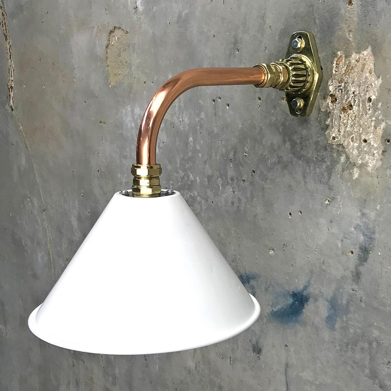 1980s Ex British Army Light Shade / Copper and Brass Cantilever, White For Sale 6