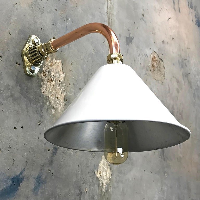 Industrial 1980s Ex British Army Light Shade / Copper and Brass Cantilever, White For Sale