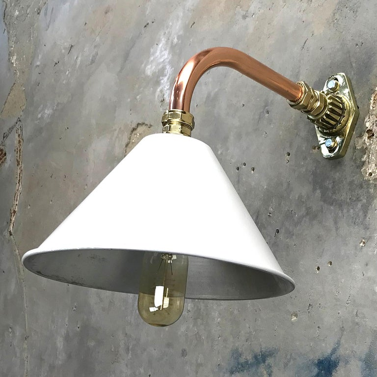 English 1980s Ex British Army Light Shade / Copper and Brass Cantilever, White For Sale
