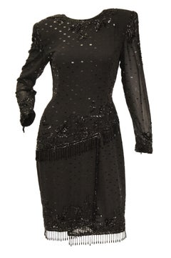 f81ce470550 1980s Fabrice Black Silk Cocktail Dress with Floral Beading and Tassel