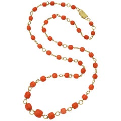 1980s Faceted Medium Color Barrel Cut Coral Gold Open Link Chain Necklace