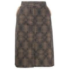 1980s Fendi Black And Beige Straight Skirt