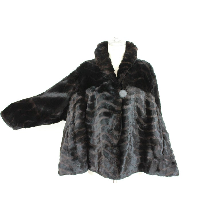 Women's 1980s Fendi Black and Brown Fur Lapin Rex Short Bolero Jacket  For Sale