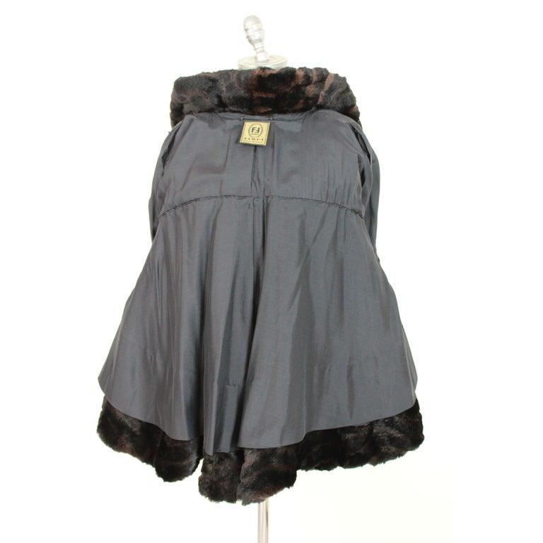 1980s Fendi Black and Brown Fur Lapin Rex Short Bolero Jacket  For Sale 2