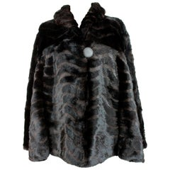 1980s Fendi Black and Brown Fur Lapin Rex Short Bolero Jacket
