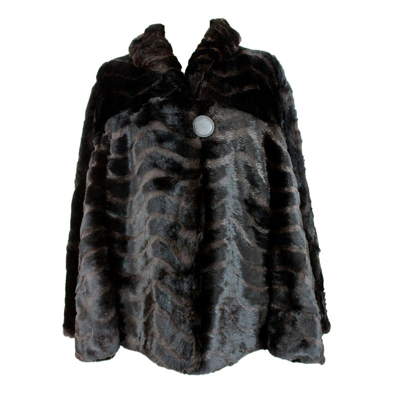 1980s Fendi Black and Brown Fur Lapin Rex Short Bolero Jacket  For Sale