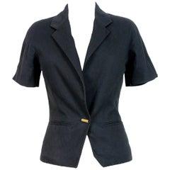 1980s Fendi Black Pique Cotton Short Sleeves Bolero Jacket