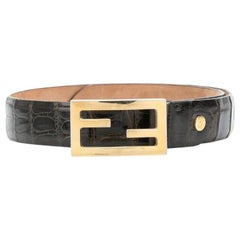 1980s Fendi Brown Crocodile Belt