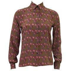 1980s Ferragamo Brown Floral Silk Blouse