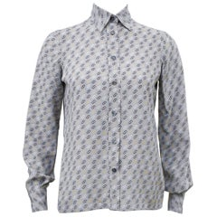 1980s Ferragamo Gray Silk Blouse with Logo Link Pattern
