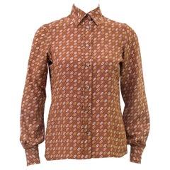 1980s Ferragamo Tan Silk Blouse with Logo Link Pattern