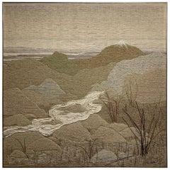 """1980s Fiber Art Panel of California Desert """"White Water"""" by Jay Lewis"""