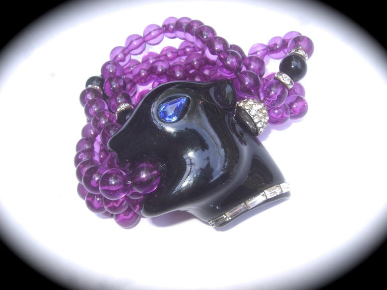 Modern 1980s Figural Lucite Panther's Head Jeweled Crystal Resin Beaded Bracelet  For Sale
