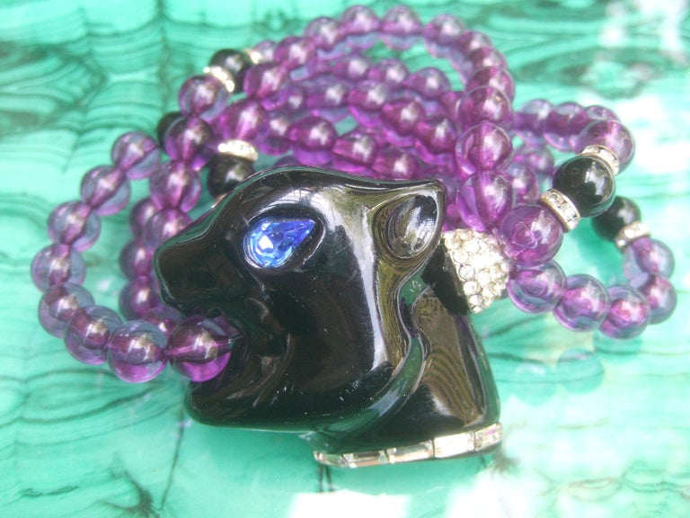 Women's 1980s Figural Lucite Panther's Head Jeweled Crystal Resin Beaded Bracelet  For Sale