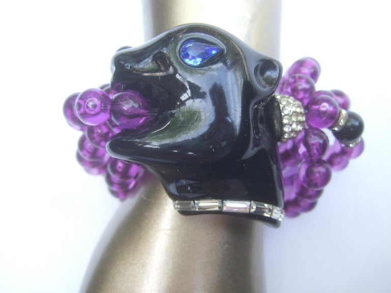 1980s Figural Lucite Panther's Head Jeweled Crystal Resin Beaded Bracelet  For Sale 2