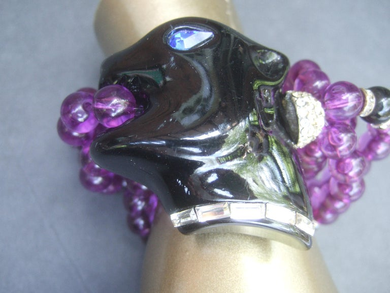 1980s Figural Lucite Panther's Head Jeweled Crystal Resin Beaded Bracelet  For Sale 4