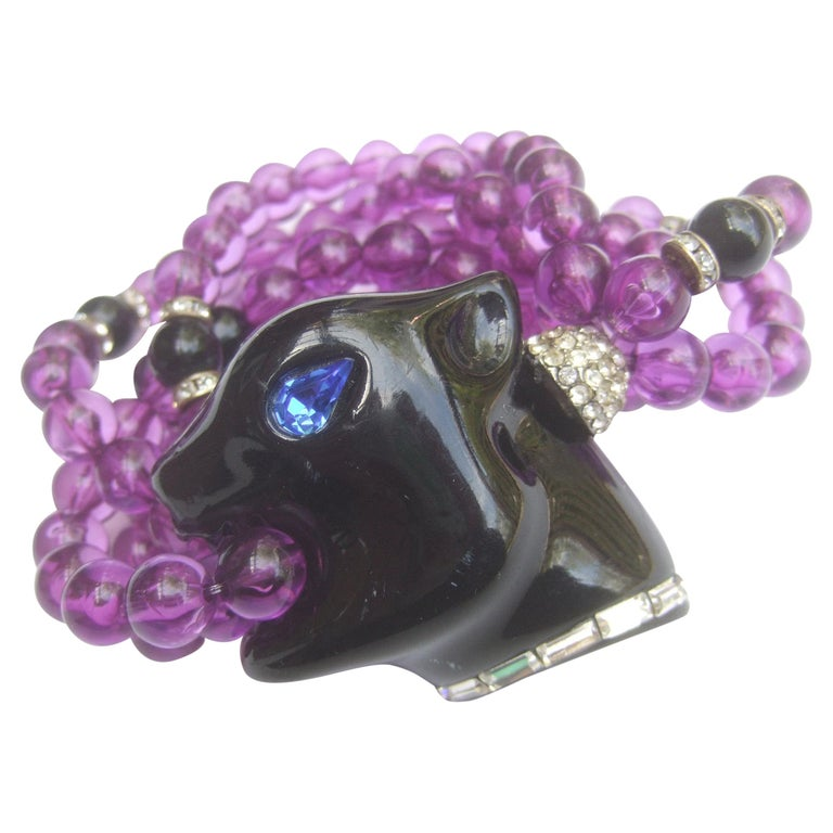 1980s Figural Lucite Panther's Head Jeweled Crystal Resin Beaded Bracelet  For Sale