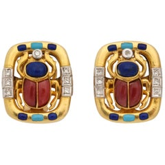 1980s Figural Scarab Lapis, Turquoise, Rhodolite, with Diamonds Gold Earclips