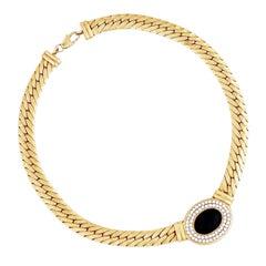 1980s Flat Chain Necklace w Black Glass Cabochon & Crystal Pavé by Bijoux Cascio