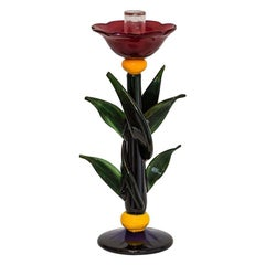 1980s Floral Art Glass Murano Blown Glass Candleholder by Silvano Signoretto