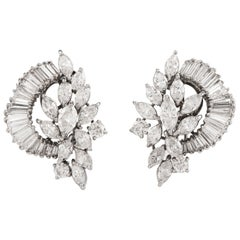 1980s Floral Marquise Diamond Cluster Platinum Clip-On Earrings