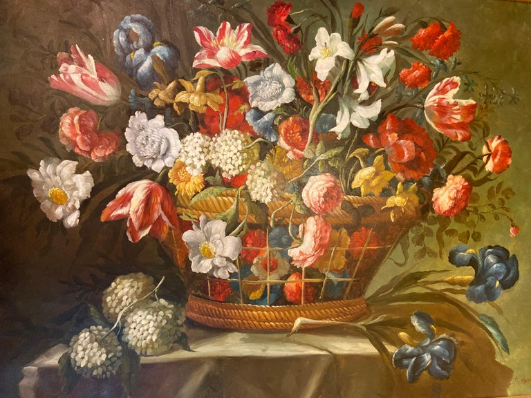1980s Flower Bouquet Oil on Canvas Painting For Sale 7