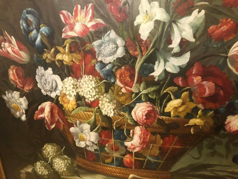 American Classical 1980s Flower Bouquet Oil on Canvas Painting For Sale