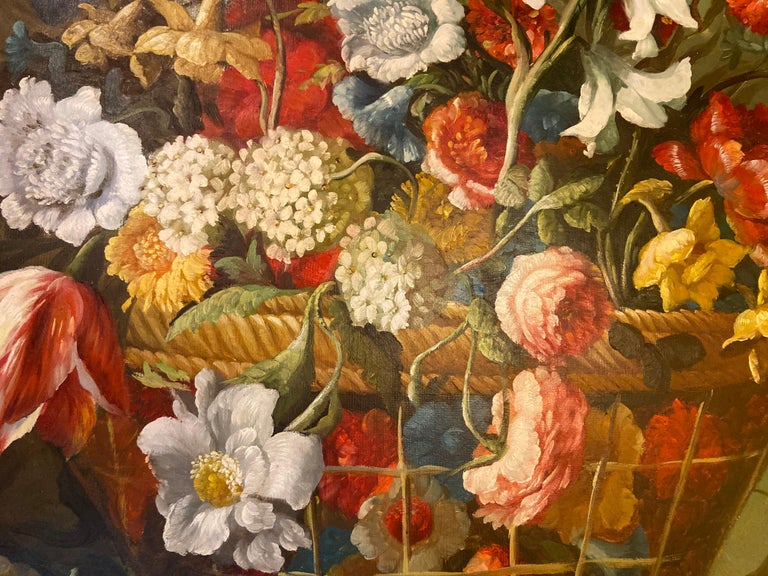 1980s Flower Bouquet Oil on Canvas Painting For Sale 1