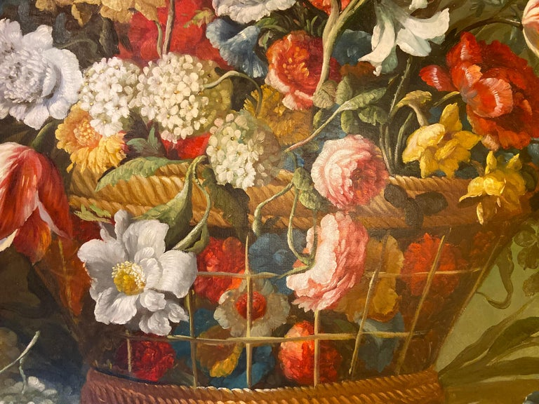 1980s Flower Bouquet Oil on Canvas Painting For Sale 2