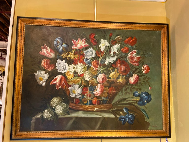 1980s Flower Bouquet Oil on Canvas Painting For Sale 4