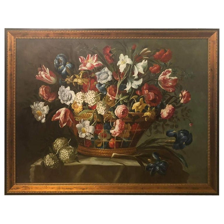 1980s Flower Bouquet Oil on Canvas Painting For Sale