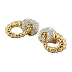 1980s Fluted 18 karat Gold and Diamond Italian Earrings