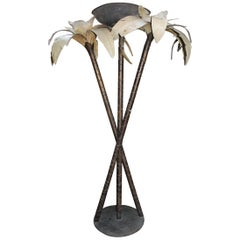 1980s Forged Spanish Steel Palm Tree Standing Lamp