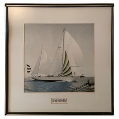 1980s Framed Color Sailing Photograph